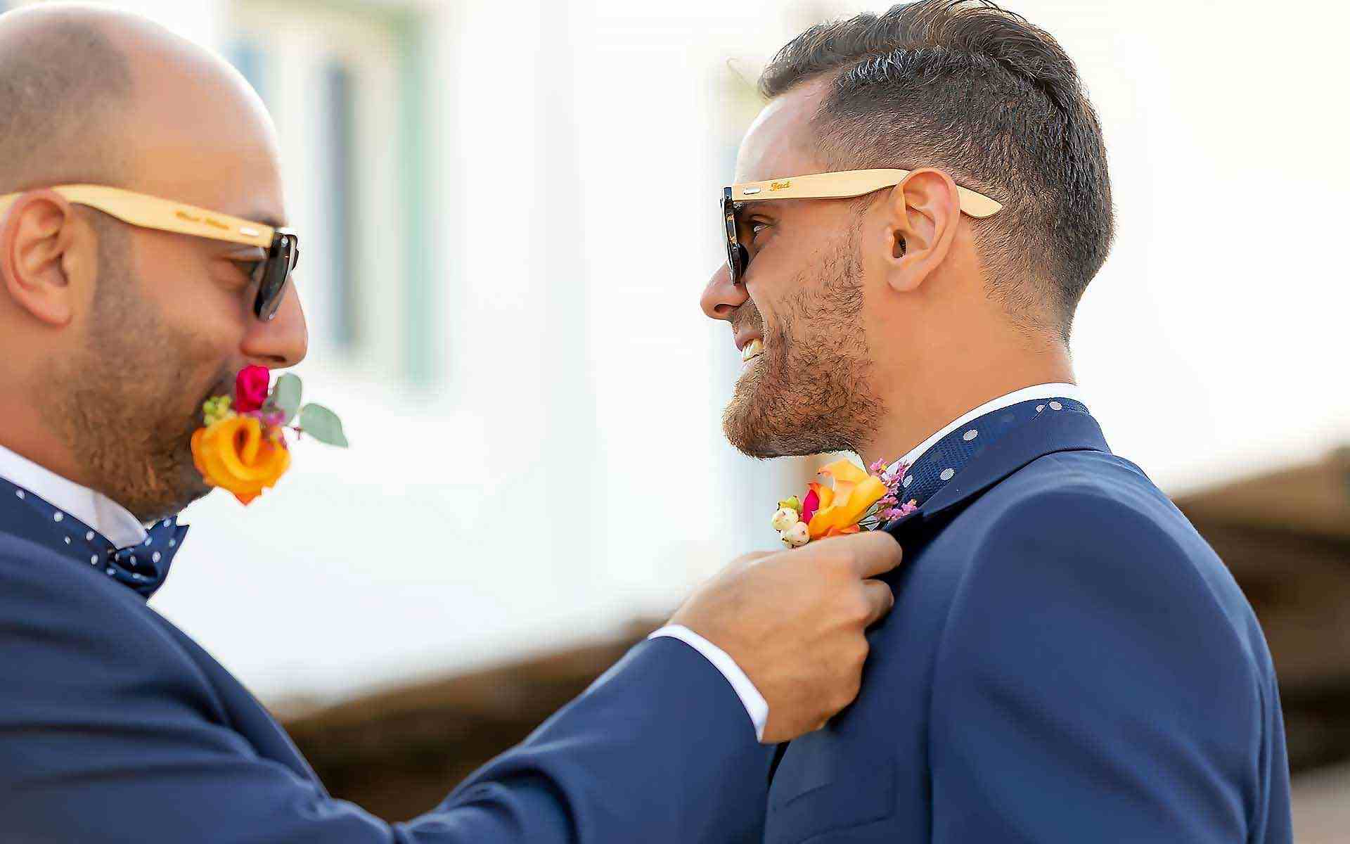 The-Brother-Of-The-Groom-Is-Putting-The-Boho-Style-Boutonniere-To-The-Groom