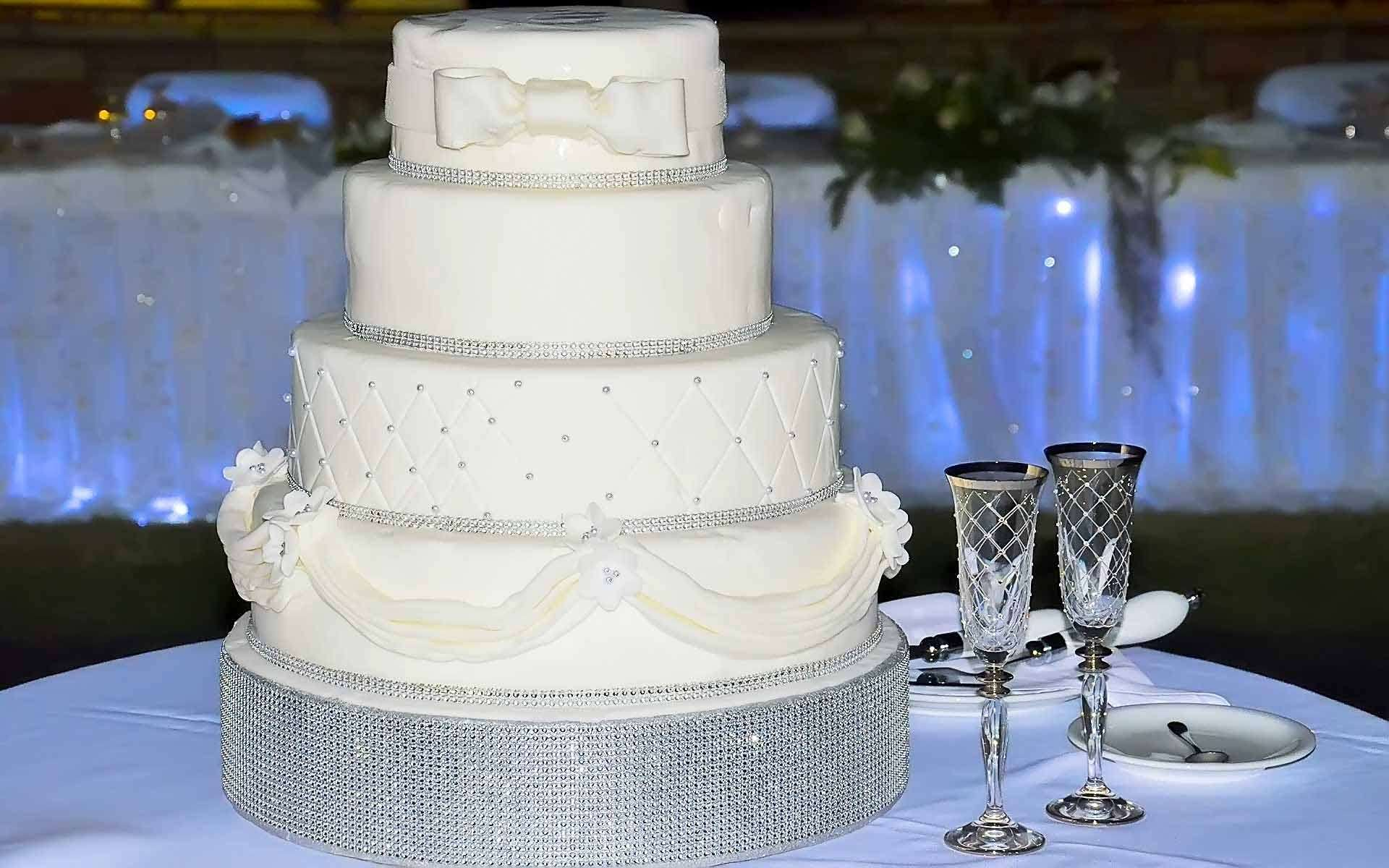 White-Wedding-Cake-With-Blanc-Strass-by-Diamond-Events-Wedding-Event-planning-services