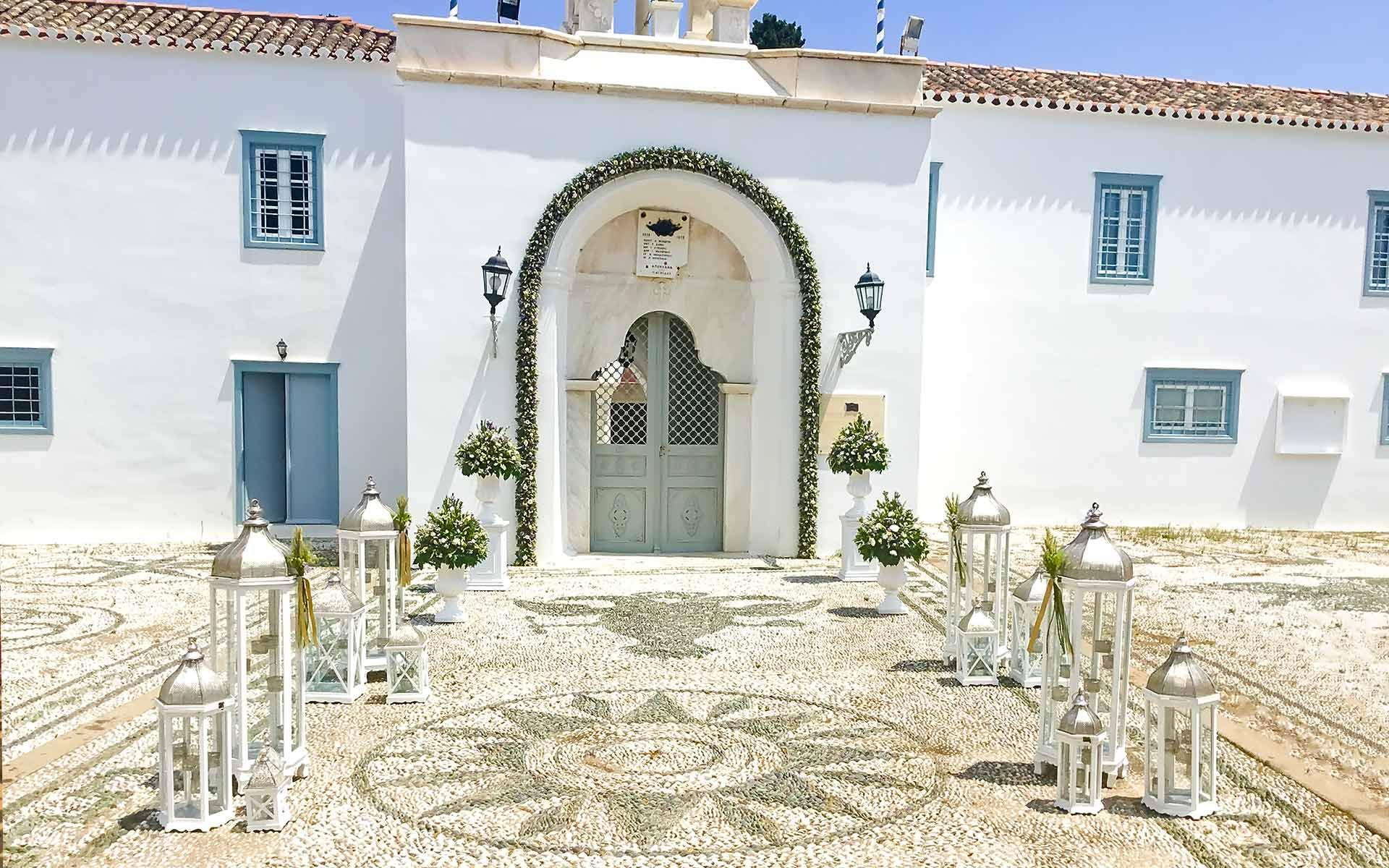 Agios-Nikolaos-in-Spetses-full-of-beautiful-marble-decorative-archways-and-lovely-mosaic-tiled-floors-decorated-for-a-wedding