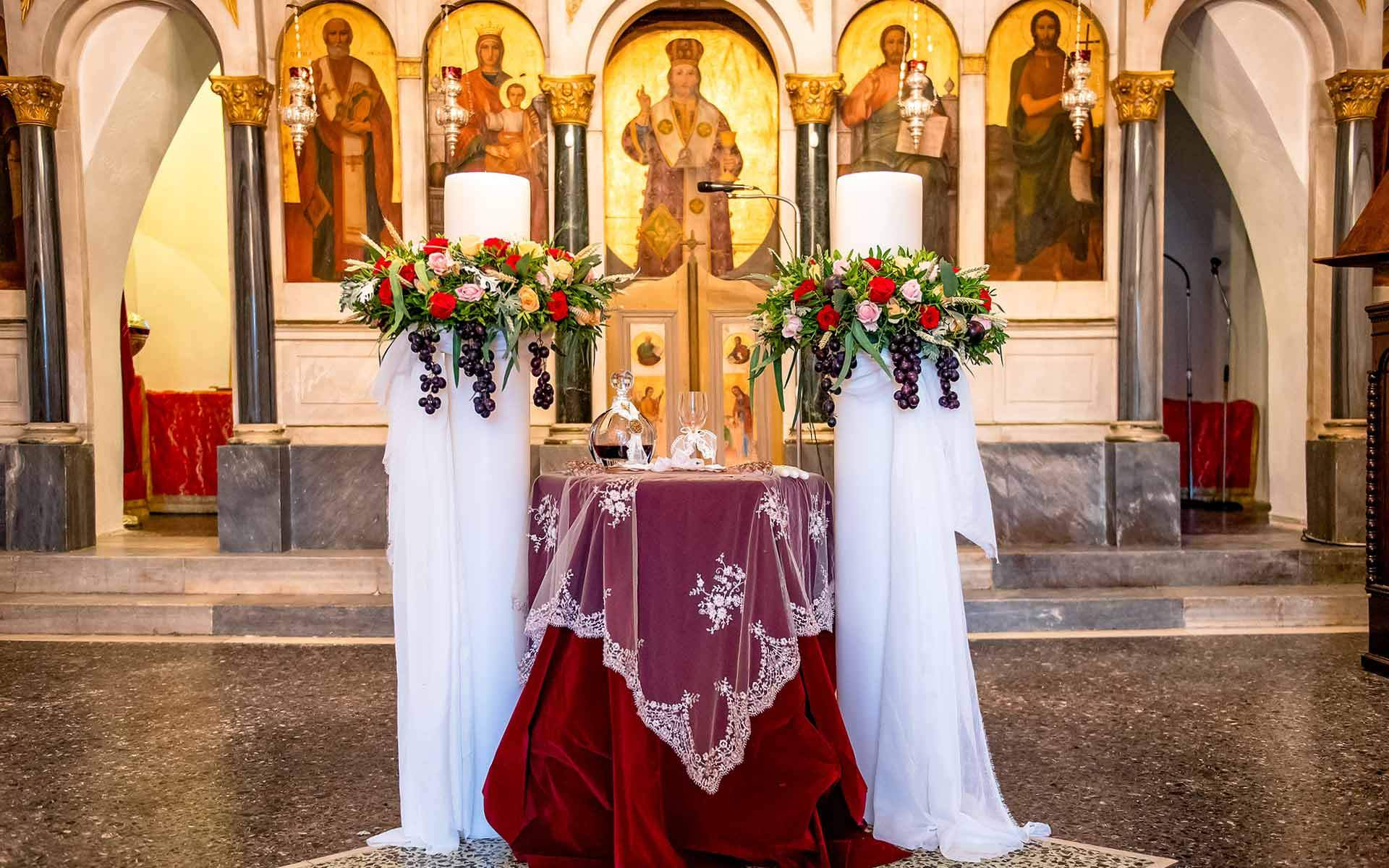 Custom-Made-Byzantine-Style-Orthodox-Wedding-with-fruit-candles-by-Diamond-Events