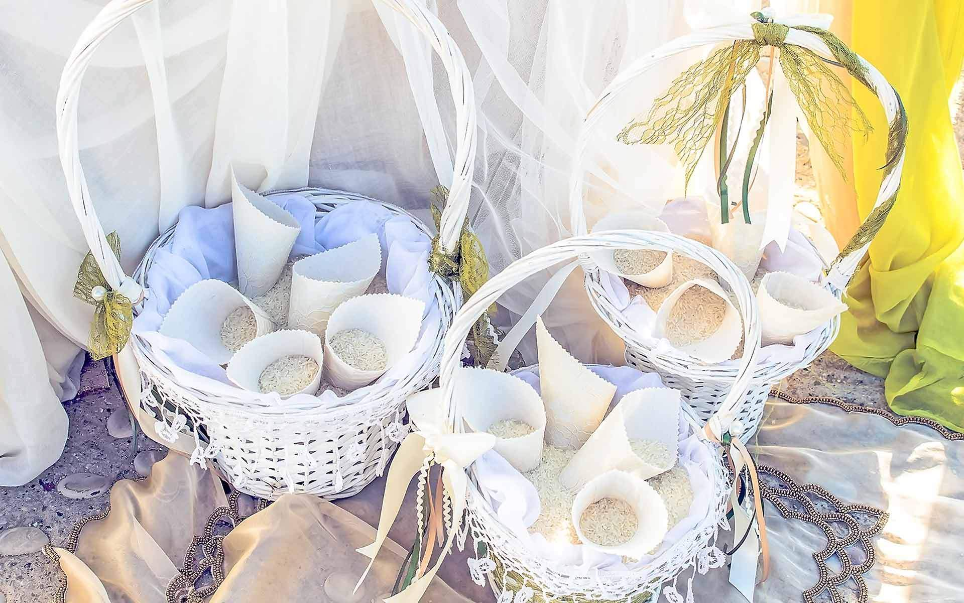 White-baskets-with-rice-and-cones-by-Diamond-Events-Wedding-Event-planning-services