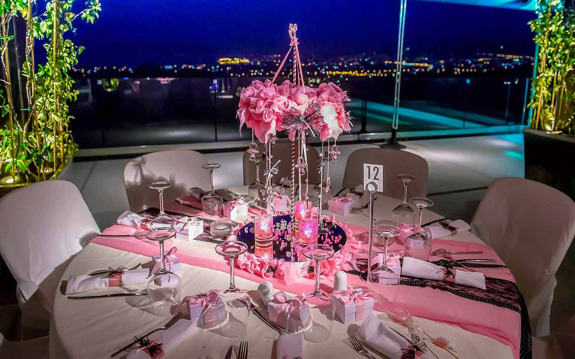 Baptism-Decoration-With-Central-Carousel-In-Shades-Of-Pink-And-Black