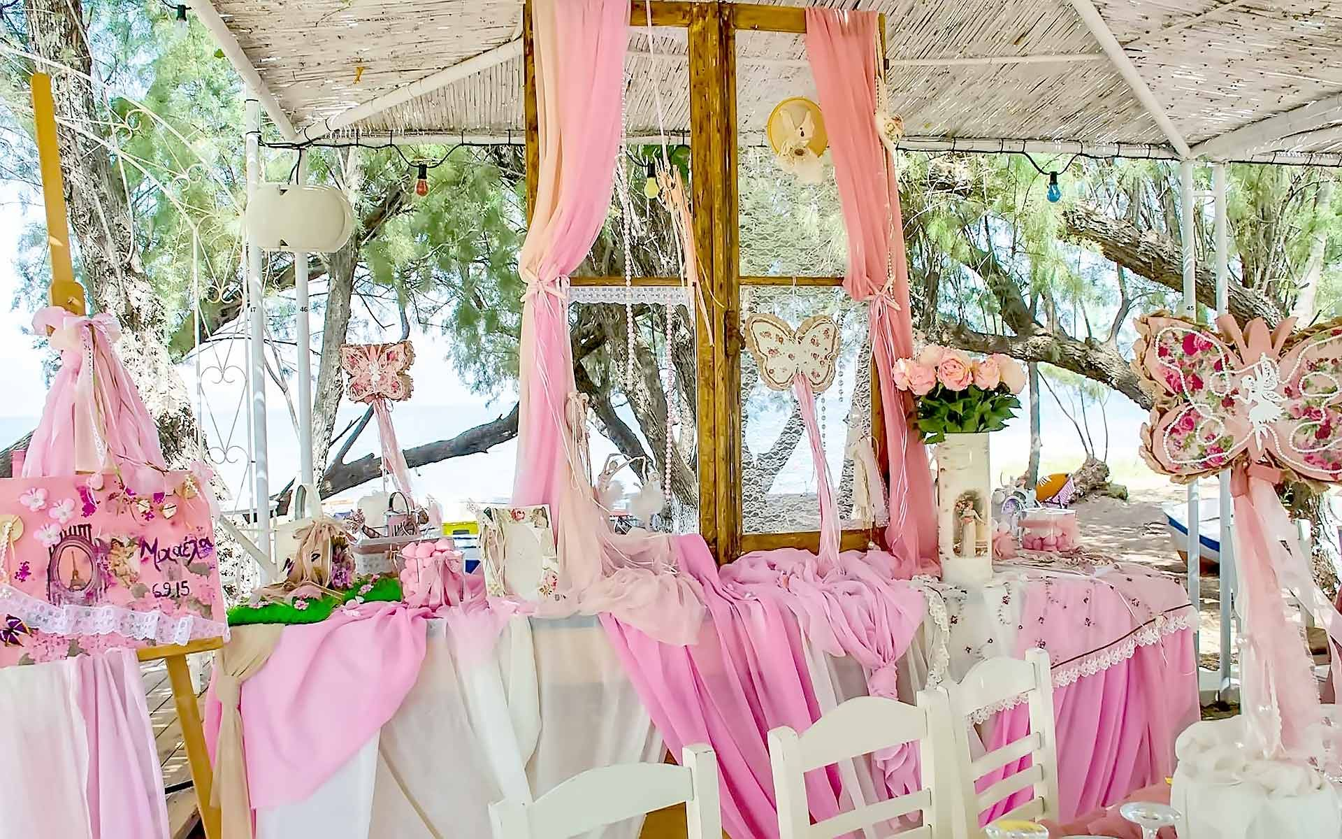 Beach-Style-Baptism-Sign-Table-With-Colorful-Fabrics-And-Butterflies