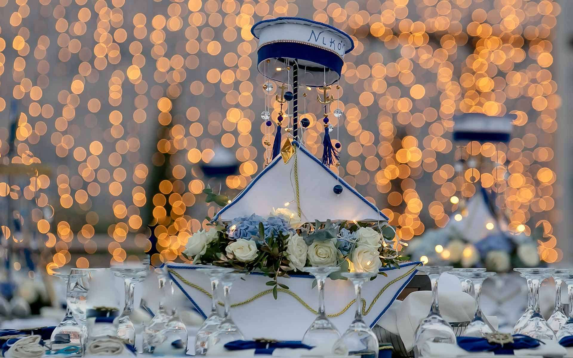 Beautiful blue and white carousel white glowers christening party baptism decoraion