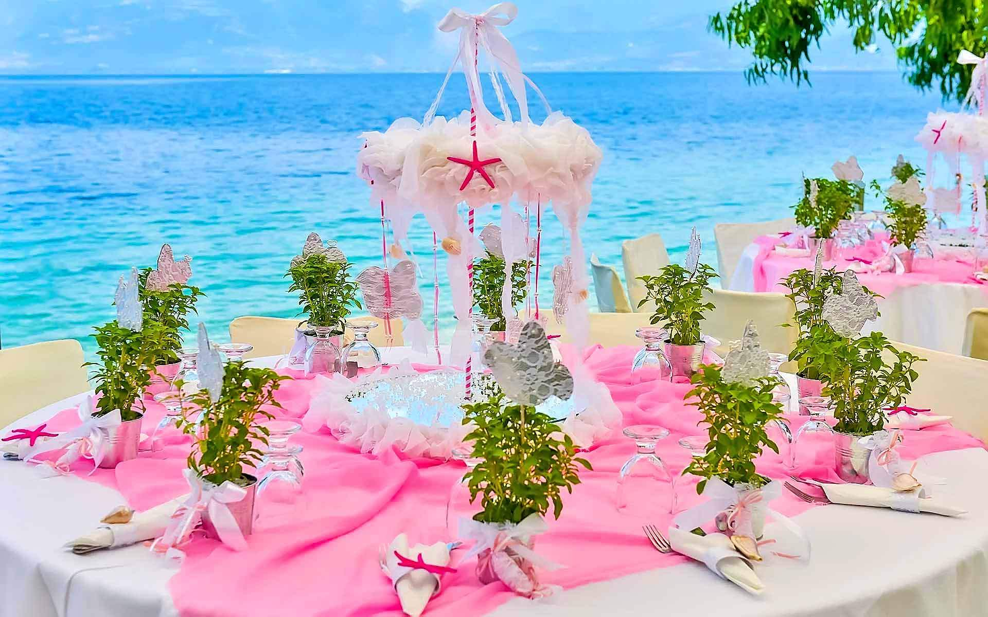 Christening-Table-With-Central-Decoration-Carousel-In-Shades-Of-Pink-And-Pots-Of-Basil-Complement
