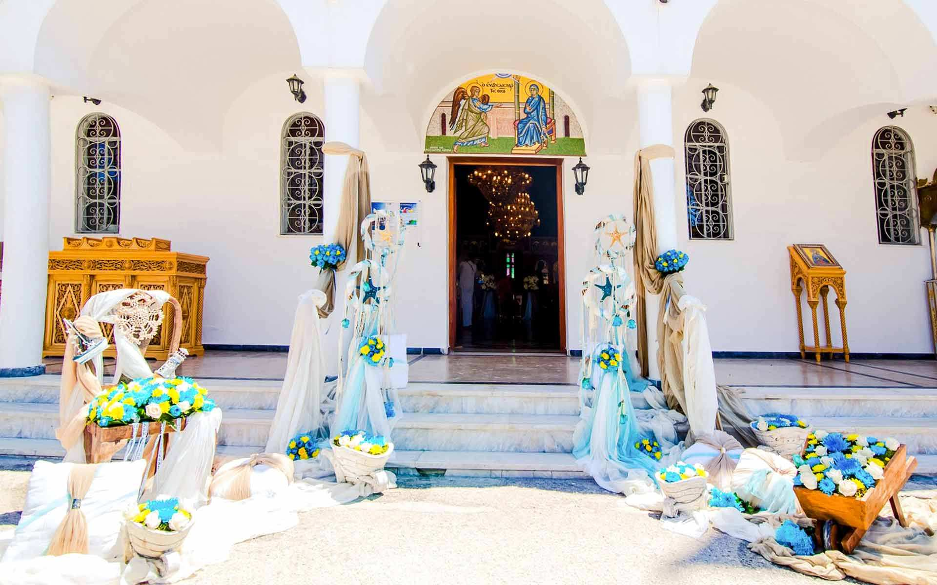 Entrance-To-Baptism-Decorated-In-Lavish-Flowers-And-Nautical-Fixtures