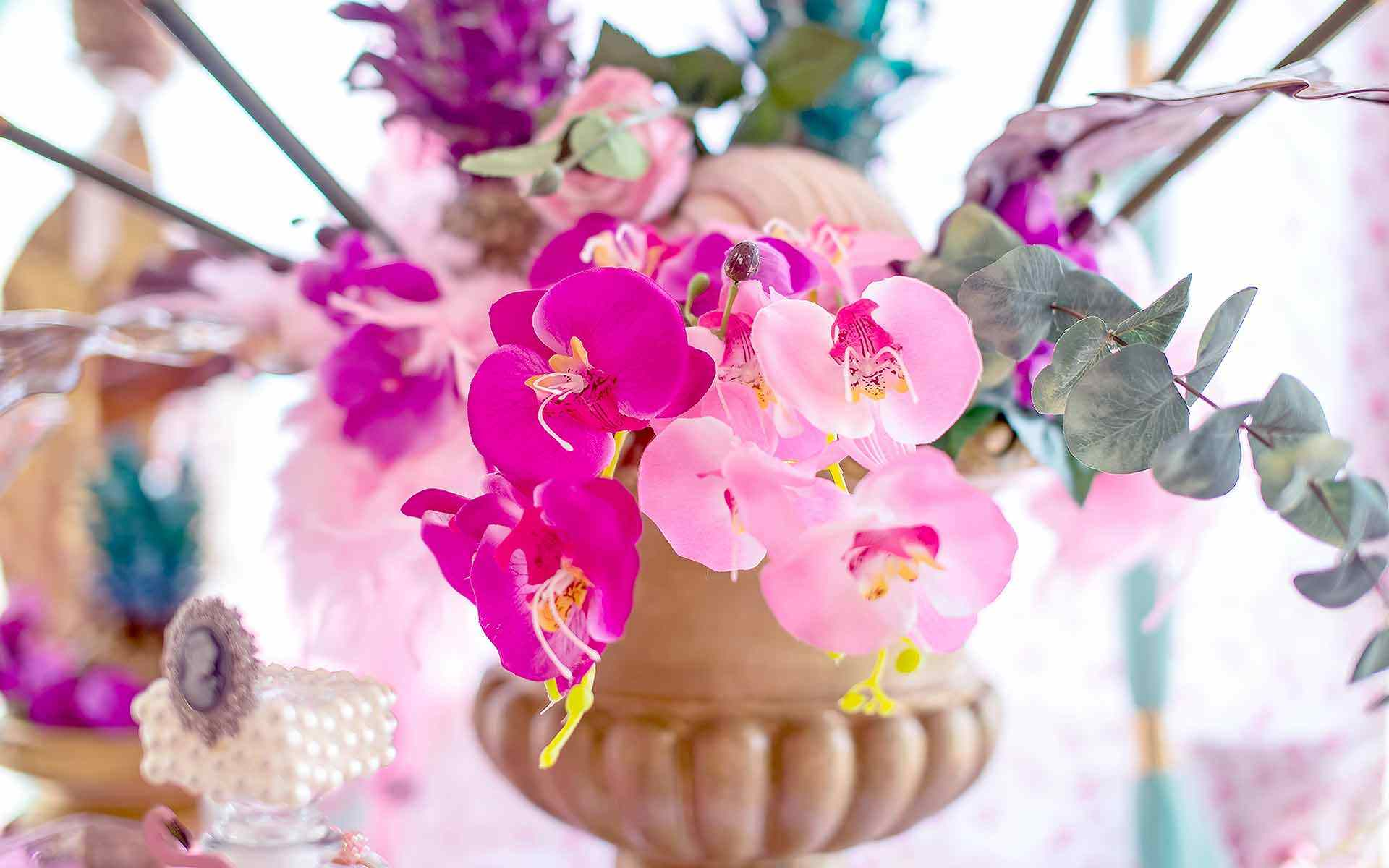 Gorgeous-Fuchsia-And-Pink-Orchids-Has-Chosen-As-A-Christening-Decoration