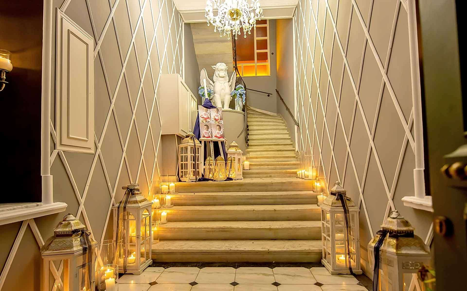 Staircase-entrance-baby-boy-baptism-decorating