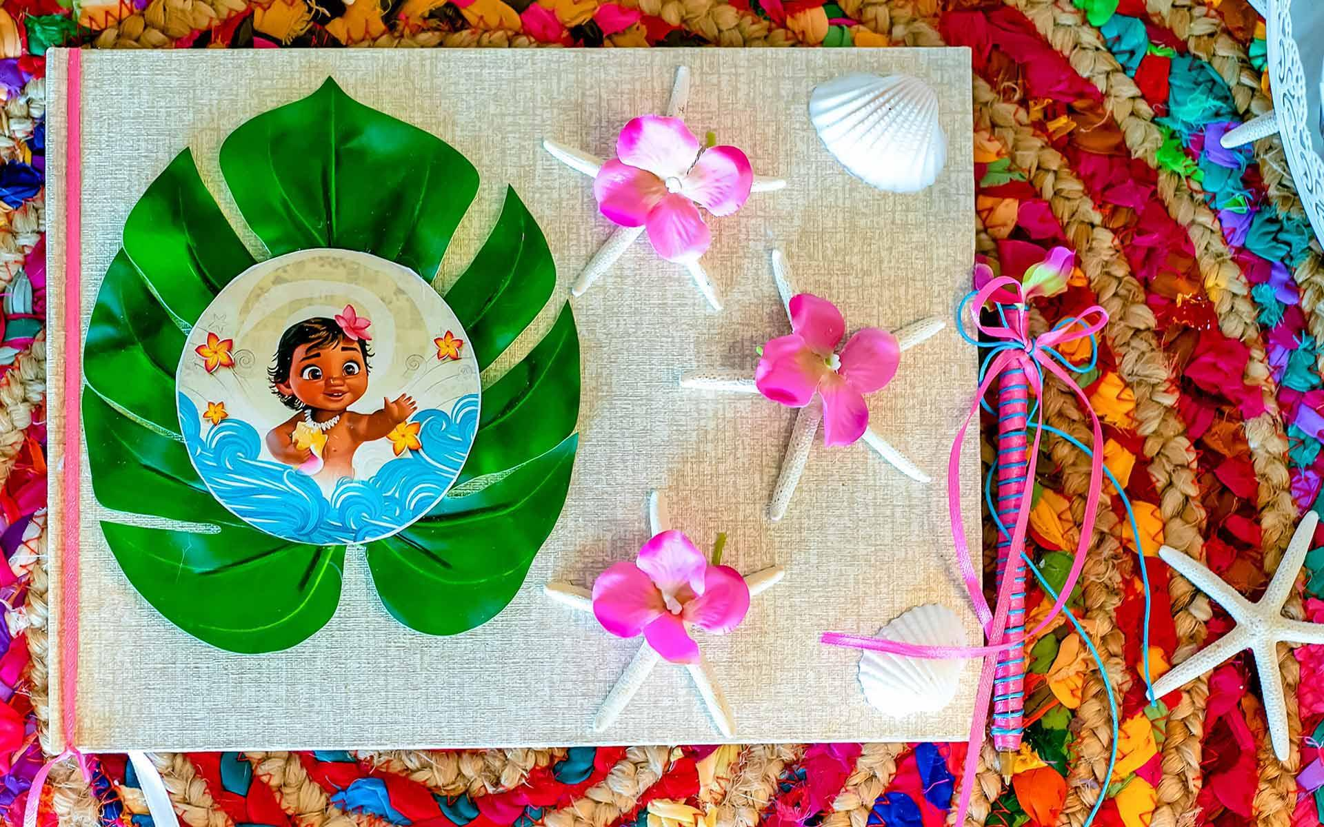 Tableware and decorations for Moana themed party. Plates, napkins, cups or tablecovers, guest book