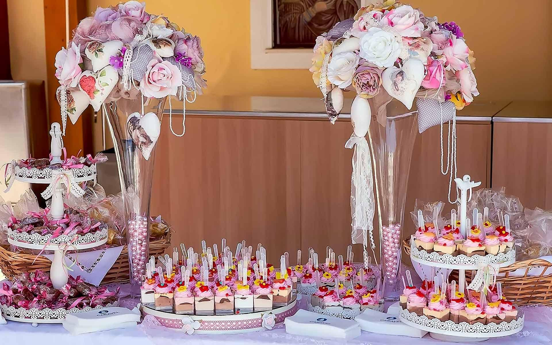 Tailor-Made-Baptism-Dessert-Table-With-Pastel-Fabrics-In-Big-Vases