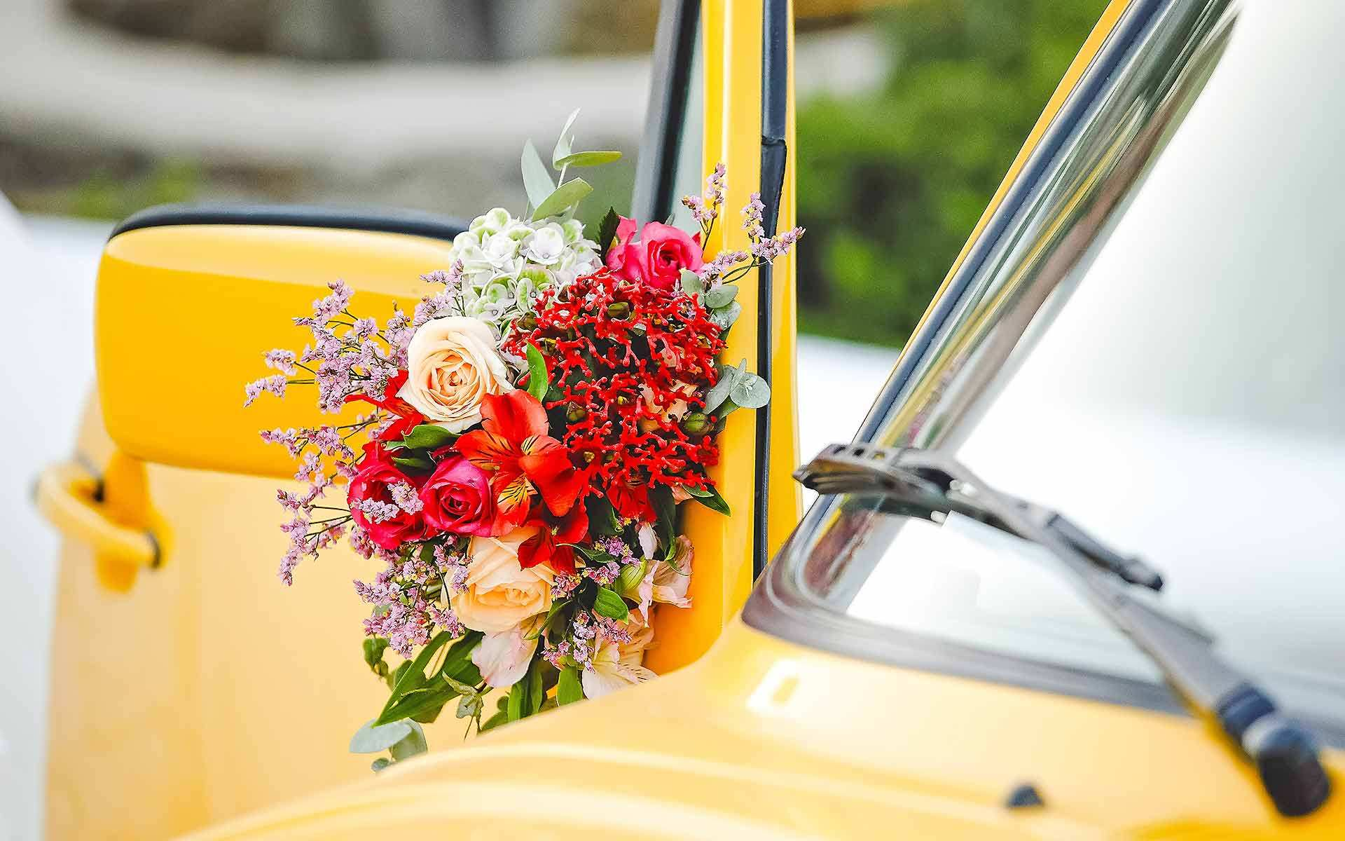 Yellow-Car-With-Bohemian-Floral-Arrangement