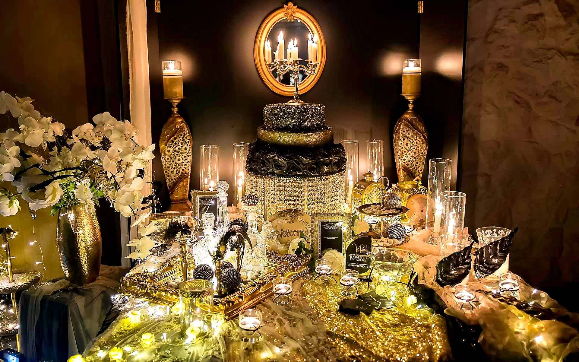Gothic-Black-Gold-Wish-Book-Table-With-Candles