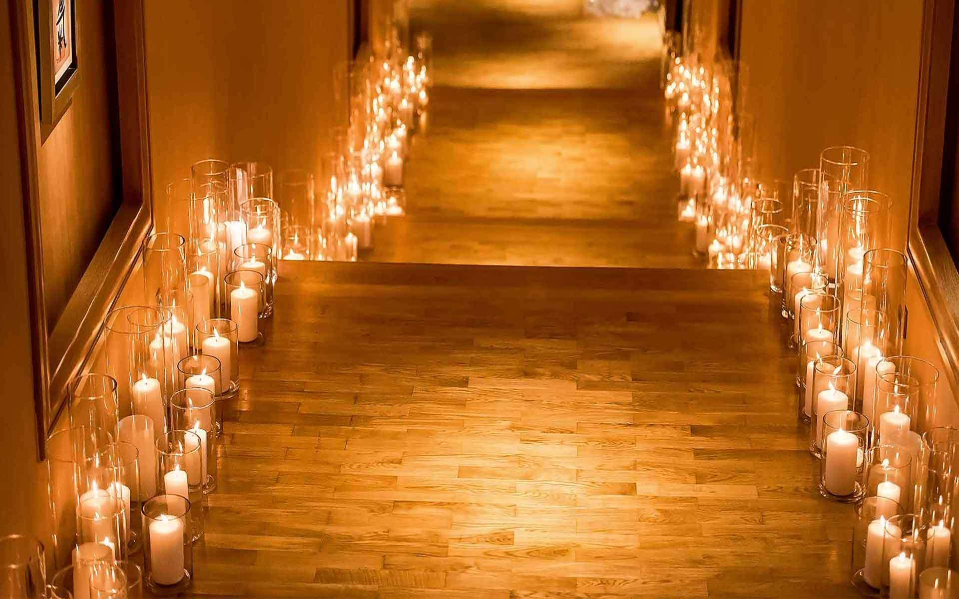 Hundreds-Vases-With-Candles-Create-A-Magical-Entrance-Path-by-Diamond-Events