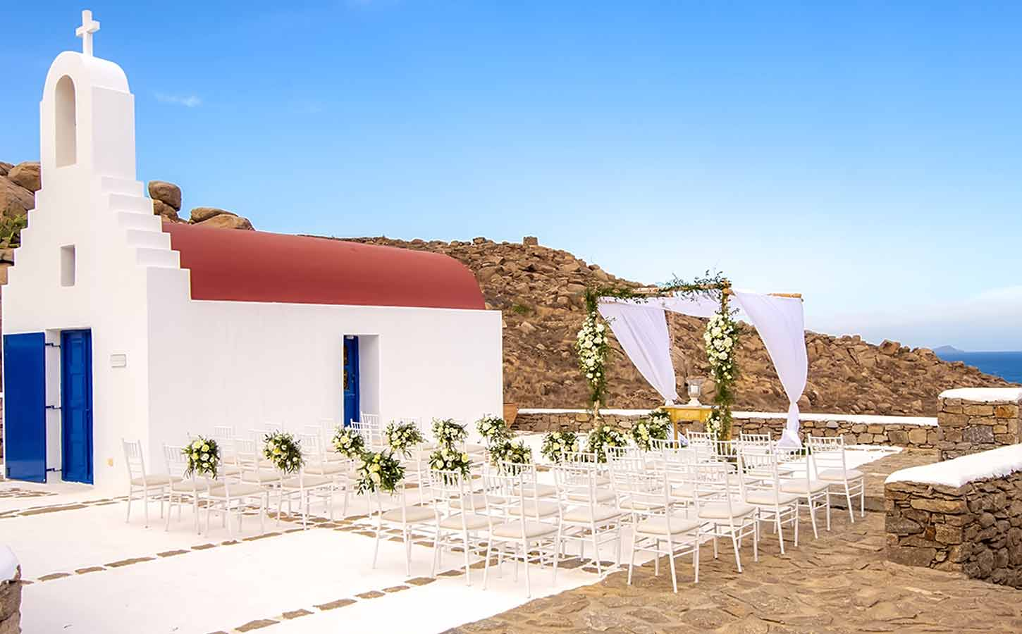A-ceremony-decoration-in-a-private-chapel-in-Mykonos-by-Diamond-Events-Great Locations for Your Wedding in Greece